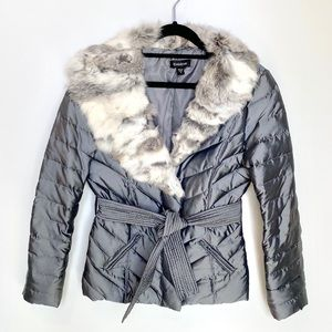 bebe Fur Collar Down Silver Puffer Coat Medium
